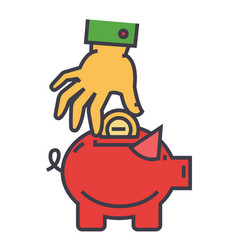 Money pig savings happy piggy bank hand put vector