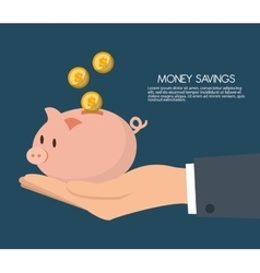 Money savings with piggy design vector