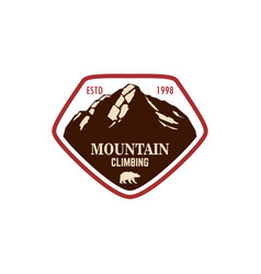 mountain climbing emblem template with rock peak vector image