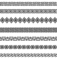 Old greek border designs set vector image