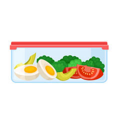 Ontainer with slices vegetables under a red lid vector