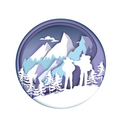 paper cut hiker couple silhouettes winter vector image