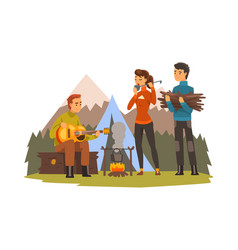 people camping tourists sitting near fire vector image