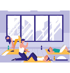 People doing crunches in the gym vector