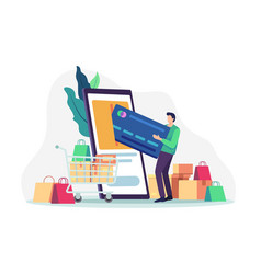 people shopping online concept vector image