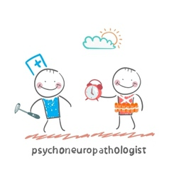 Psychoneuropathologist stands next to a man with a vector
