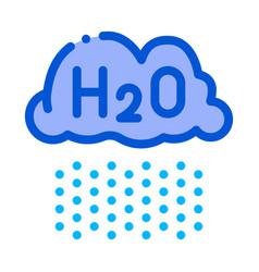 Raining cloud h2o rain thin line sign icon vector