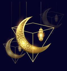 ramadan kareem moon and lantern background vector image