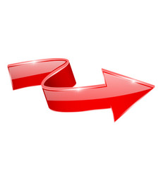 Red curved arrow shiny 3d sign vector
