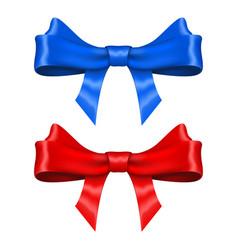 ribbon bows blue and red set vector image