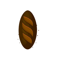 Rye dark bread loaf icon vector