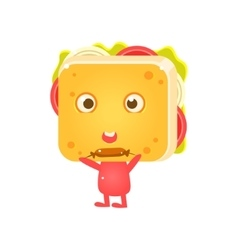 Sandwich Character Eating Sausage vector
