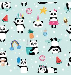 seamless panda bear pattern on light blue vector image