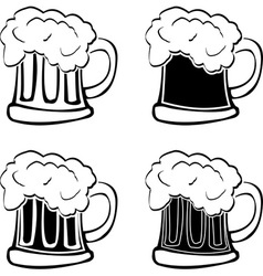 Set of glasses of beer vector