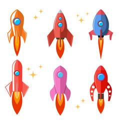 set rocket in flat style cartoon spaceships vector image