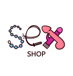 Sex shop logo design letters vector