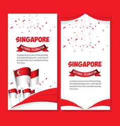 Singapore national celebration poster template vector