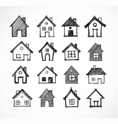 sketch houses on white background vector image