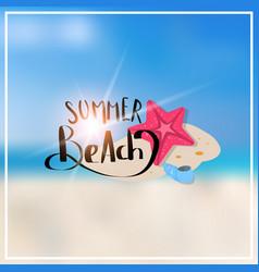 Starfish summer blurred sea bokeh beach background vector