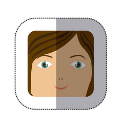 sticker cartoon human female happy face vector image