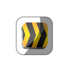 Sticker color square 3d button with road traffic vector