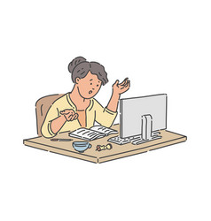 Stressed school student girl sitting at table with vector