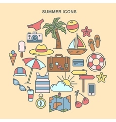 summer time set summer icons vector image