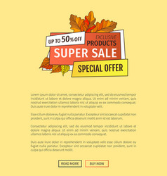 super sale special offer up to 50 percent poster vector image