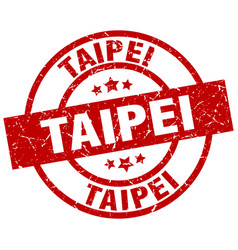 Taipei red round grunge stamp vector
