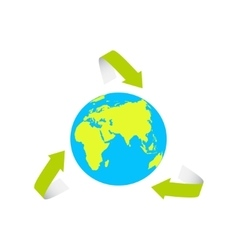 The Earth surrounded by the recycle symbol vector