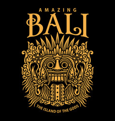 traditional balinese mask graphic on black vector image