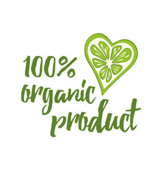 Typography phrase organic product decorated green vector