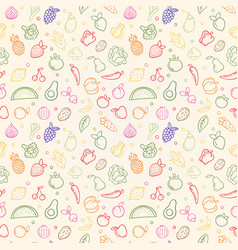 vegetable fruit seamless pattern organic food vector image