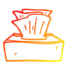 Warm gradient line drawing cartoon box tissues vector