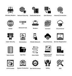 Web hosting glyph icon designs 4 vector