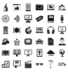 web message icons set simple style vector image