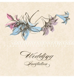 Wedding invitation lily flower decoration vector