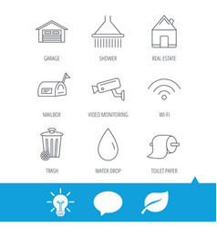 wi-fi video monitoring and real estate icons vector image