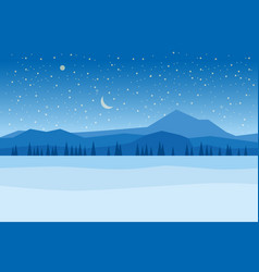 winter night landscape mountains woodland frosen vector image