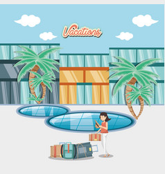 Woman in the pool scene travel ilustration vector