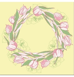 Wreath with pink white tulips vector image