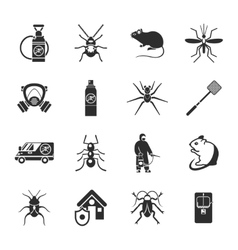 Pest Control Black White Icons Set vector image