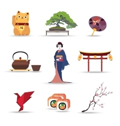 Set of Japan isolated travel colorful flat icons vector image vector image