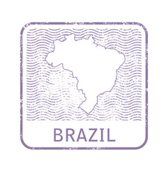 stamp with contour of map of brazil vector image