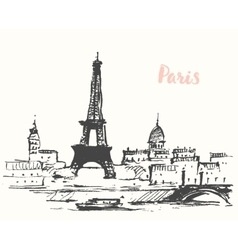 Streets Paris cafe Vintage drawn sketch vector image vector image