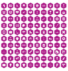 100 mens team icons hexagon violet vector image