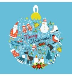 Christmas Hand Drawn Round Design vector image
