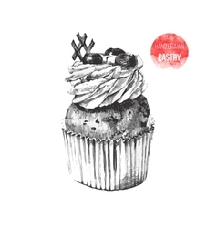 Hand drawn cupcake in vintage style vector image vector image