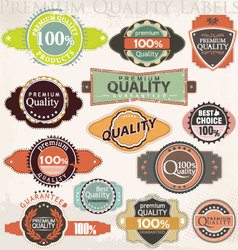 retro premium quality label collection set vector image