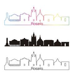 rosario skyline linear style with rainbow vector image vector image
